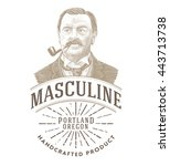 vintage logo with bold man... | Shutterstock .eps vector #443713738