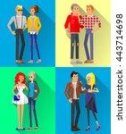 flat line bright set of modern... | Shutterstock .eps vector #443714698