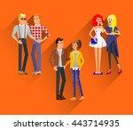 flat line bright set of modern... | Shutterstock .eps vector #443714935