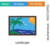 landscape art icon. flat color...