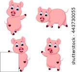 collection cute pig cartoon | Shutterstock .eps vector #443730055