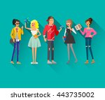 flat line bright set of modern... | Shutterstock .eps vector #443735002