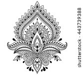 mehndi lotus flower pattern for ... | Shutterstock .eps vector #443739388