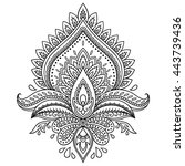 henna tattoo flower template in ... | Shutterstock .eps vector #443739436