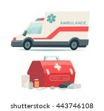 ambulance car and first aid kit ... | Shutterstock .eps vector #443746108
