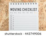word moving checklist note... | Shutterstock . vector #443749006