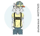 persian cat hipster with tattoo ... | Shutterstock .eps vector #443757655