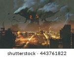 sci fi scene alien monster... | Shutterstock . vector #443761822
