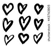 vector hand painted ink... | Shutterstock .eps vector #443763805