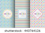 Bright colorful seamless patterns for baby style. Vector illustration for children background. Funny crazy kids paint. Happy geometry shapes. Set of ornament for gretting card, invitation. | Shutterstock vector #443764126