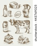 Set Of Images Of Dairy Product...