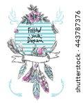 boho style hand drawn poster...   Shutterstock .eps vector #443787376