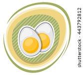 vector icon sliced boiled egg... | Shutterstock .eps vector #443792812