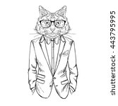 cat dressed up in tuxedo  furry ... | Shutterstock .eps vector #443795995