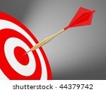 Darts on the red target. Concept for business success and marketing - stock photo