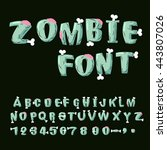 zombie font. bones and brains.... | Shutterstock .eps vector #443807026