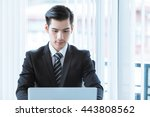 businessman working in office ... | Shutterstock . vector #443808562