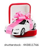 new car with pink bow as... | Shutterstock . vector #443811766