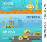 three horizontal construction... | Shutterstock .eps vector #443811775