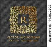 luxury monogram logo. golden...   Shutterstock .eps vector #443812102