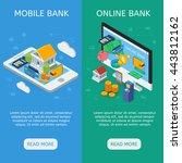 internet banking isometric... | Shutterstock .eps vector #443812162
