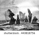 destructive action of the ocean ... | Shutterstock . vector #443818756