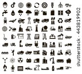 set of 81 vector icons of black ... | Shutterstock .eps vector #443819902