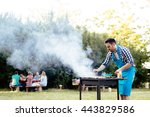 barbecue in nature being done... | Shutterstock . vector #443829586