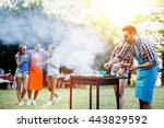 friends camping and having a... | Shutterstock . vector #443829592