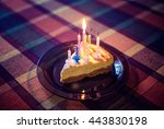 birthday celebration cake slice ... | Shutterstock . vector #443830198