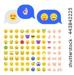 abstract funny flat style emoji ... | Shutterstock .eps vector #443842225