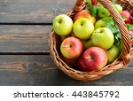 3 different kinds of apples and ... | Shutterstock . vector #443845792