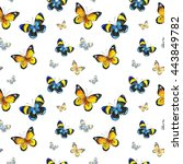 seamless watercolor butterfly... | Shutterstock . vector #443849782