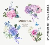 Set of vintage floral vector bouquet of blooming hydrangea and garden flowers, botanical natural hydrangea Illustration on white. Summer floral hydrangea greeting card in watercolor style | Shutterstock vector #443855566