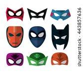 icon set of superhero mask.... | Shutterstock .eps vector #443857636