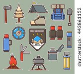 cartoon camping equipment icon... | Shutterstock .eps vector #443861152
