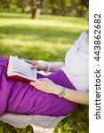 woman reading a book in red... | Shutterstock . vector #443862682