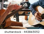 learning to play the guitar.... | Shutterstock . vector #443865052