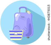 travel suitcase and beach bag... | Shutterstock .eps vector #443875015