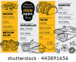 mexican menu placemat food... | Shutterstock .eps vector #443891656