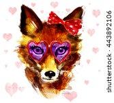 valentine fox in glasses ... | Shutterstock . vector #443892106