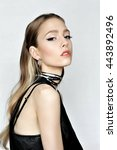 punk rock style. fashion woman... | Shutterstock . vector #443892496