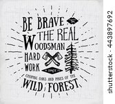 lumberjack vintage label with... | Shutterstock .eps vector #443897692