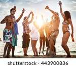 people celebration beach party... | Shutterstock . vector #443900836