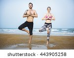 yoga beach exercise relaxation... | Shutterstock . vector #443905258