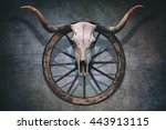 Long Horned Bull Skull And Old...