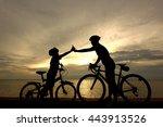 biker family silhouette on the... | Shutterstock . vector #443913526