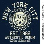 new york authentic denim... | Shutterstock .eps vector #443914792