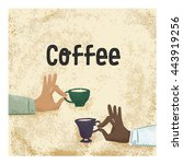 two hands with cups of coffee.  ... | Shutterstock .eps vector #443919256