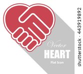 handshake in a heart shape ... | Shutterstock .eps vector #443919892